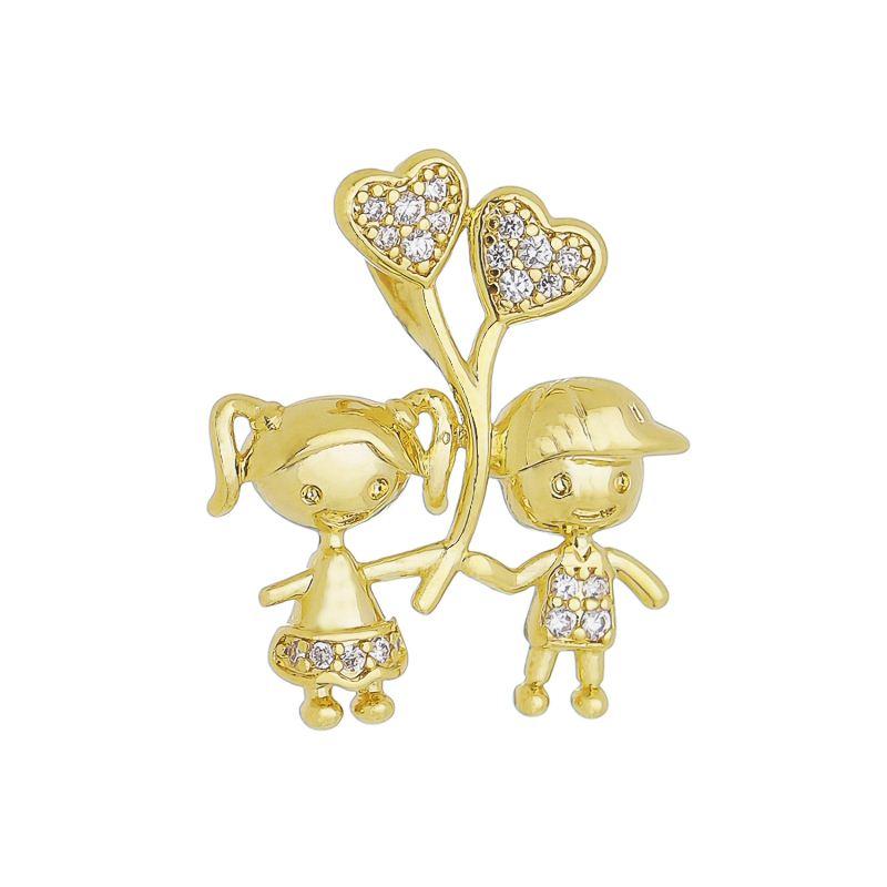 Pingente Casal C/ Balão de Coração de Zircônia Folheado com Ouro 18k Giro Semijoias