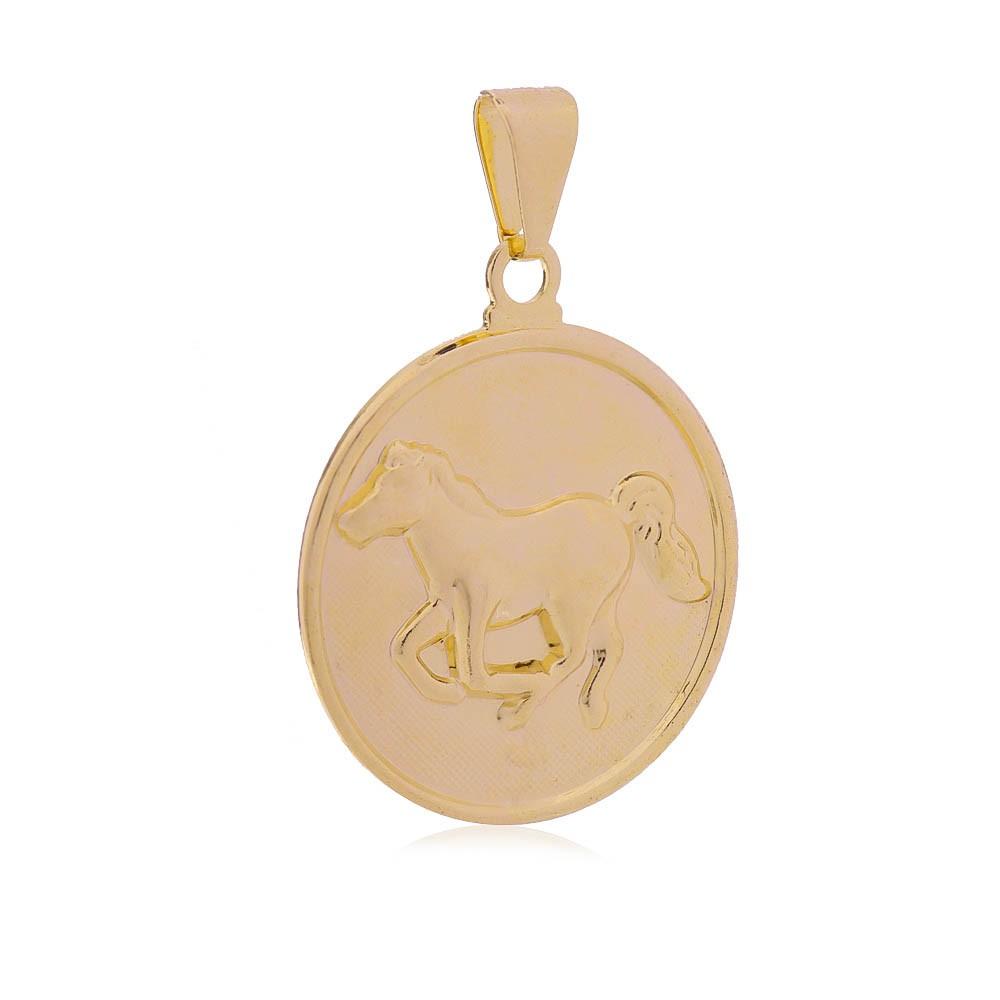 Pingente Cavalo Folheado com Ouro 18k  Giro Semijoias