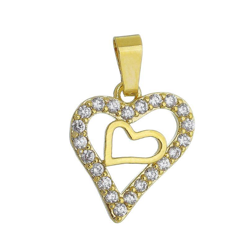 Pingente Coração C/ Zircônia C/ Coração Liso Dentro Ouro 18k