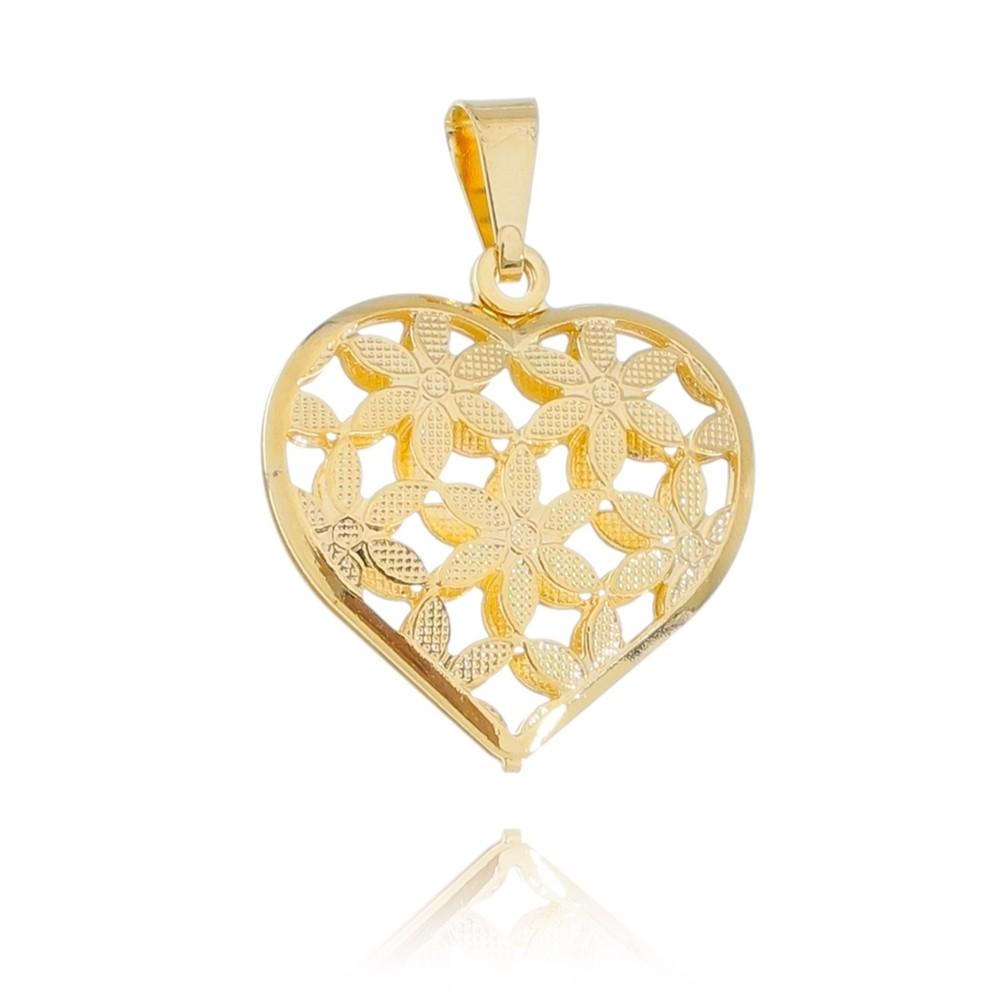 Pingente Coração com Flor Vazado Folheado com  Ouro 18k - Giro Semijoias