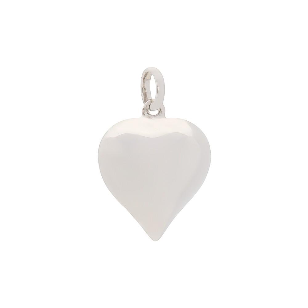 Pingente Coração Liso Folheado em Ródio Branco - Giro Semijoias