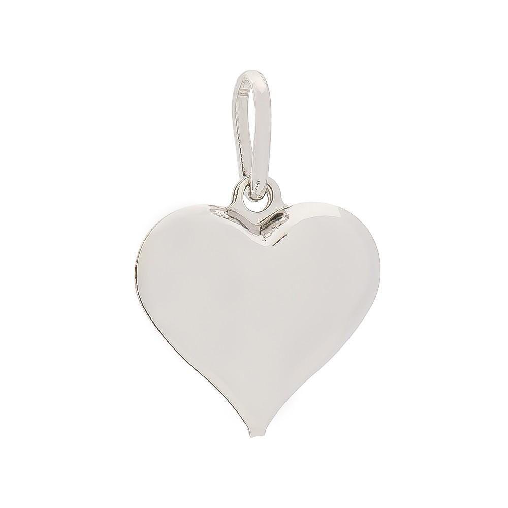 Pingente Coração Liso M Folheado em Ródio Branco - Giro Semijoias