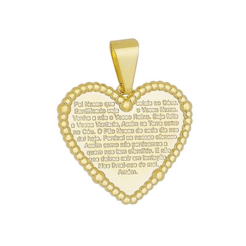 Pingente Coração Pai Nosso Ouro 18k