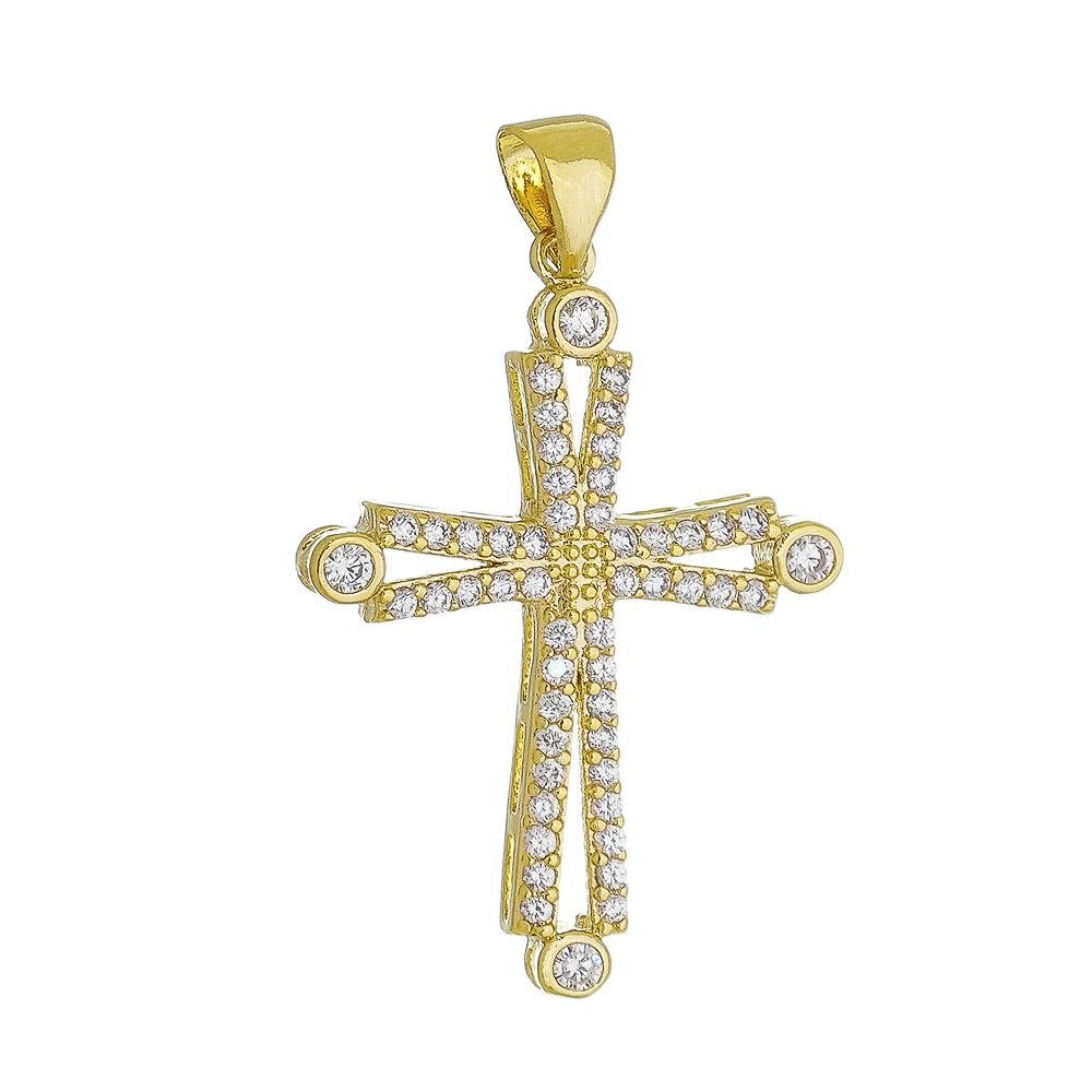 Pingente Cruz com Pontos de Luz Cravejado em Zircônias Folheado em Ouro 18k