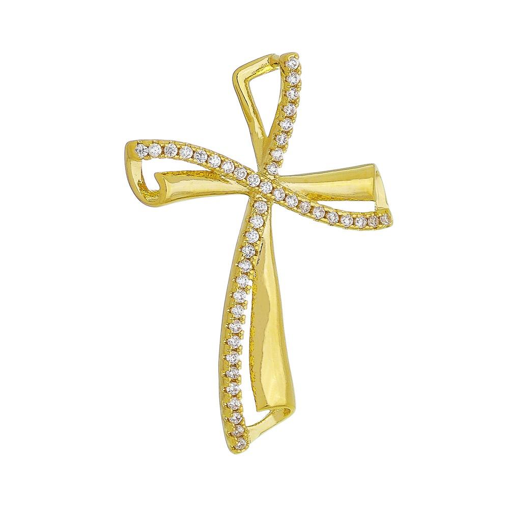 Pingente Cruz Cravejada em Zircônias Folheado em Ouro 18k - Giro Semijoias