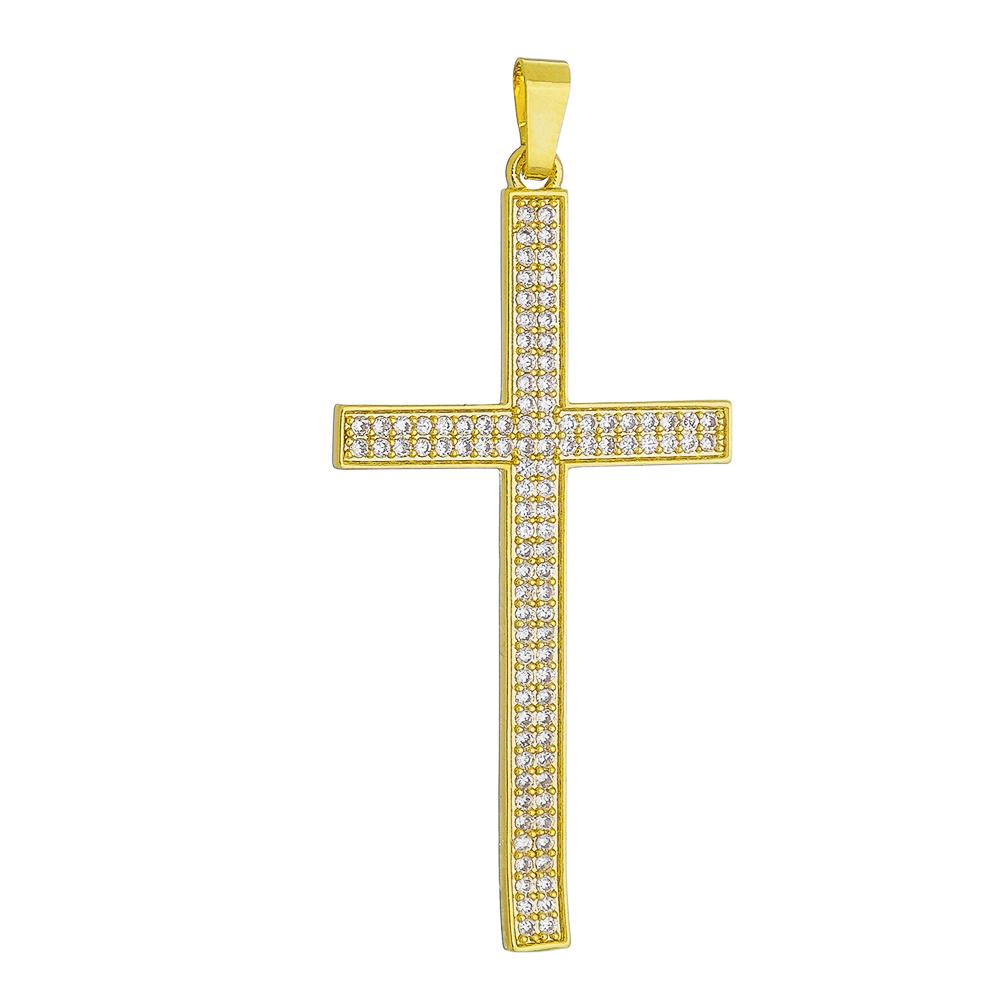 Pingente Cruz em Zircônias Folheado em Ouro 18k