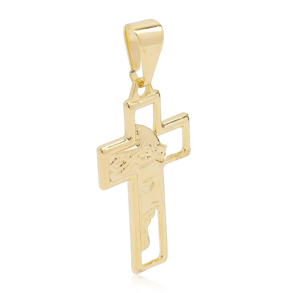 Pingente Cruz Sagrada Face Folheado em Ouro 18k - Giro Semijoias