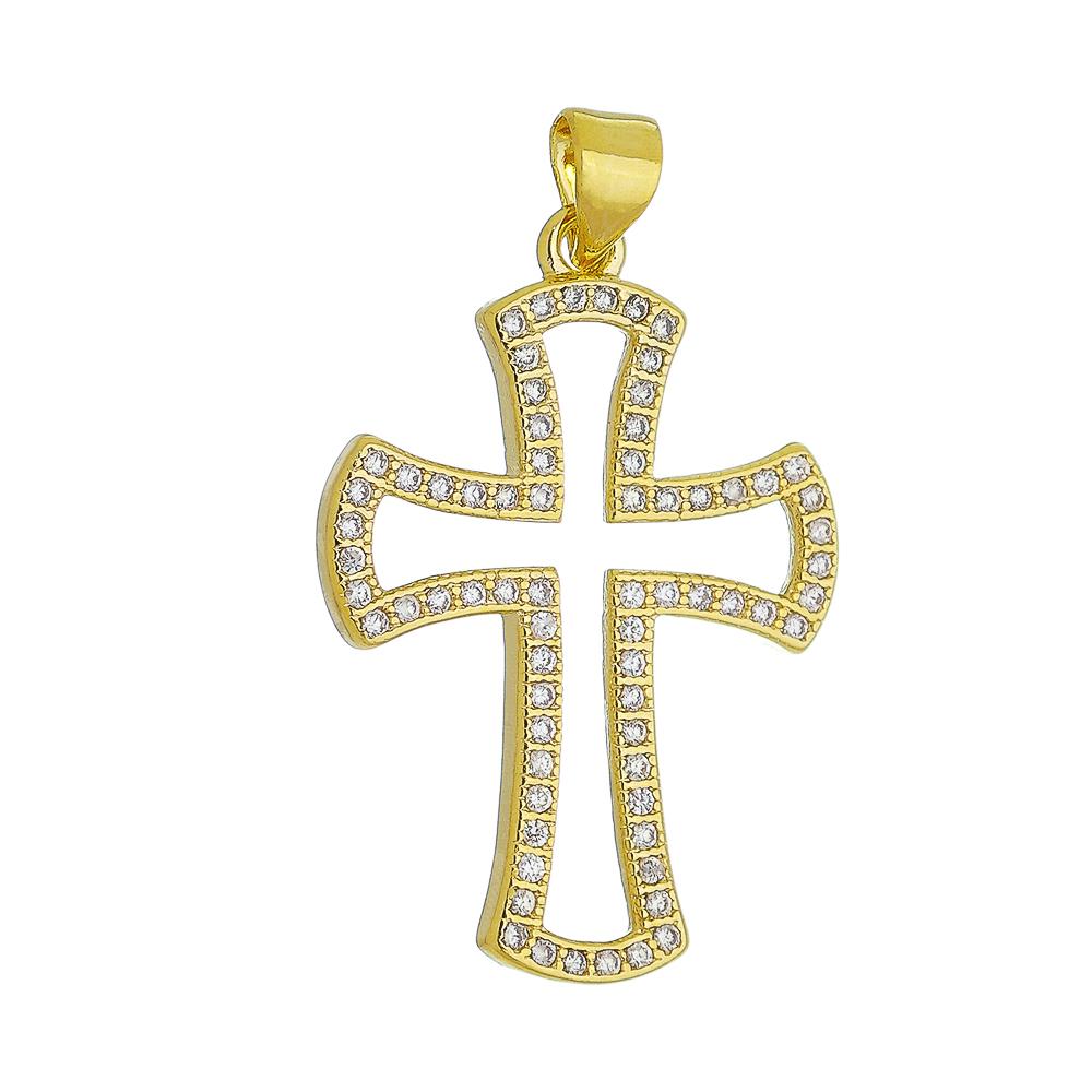 Pingente Cruz Vazada Cravejado em Zircônias Folheado em Ouro 18k