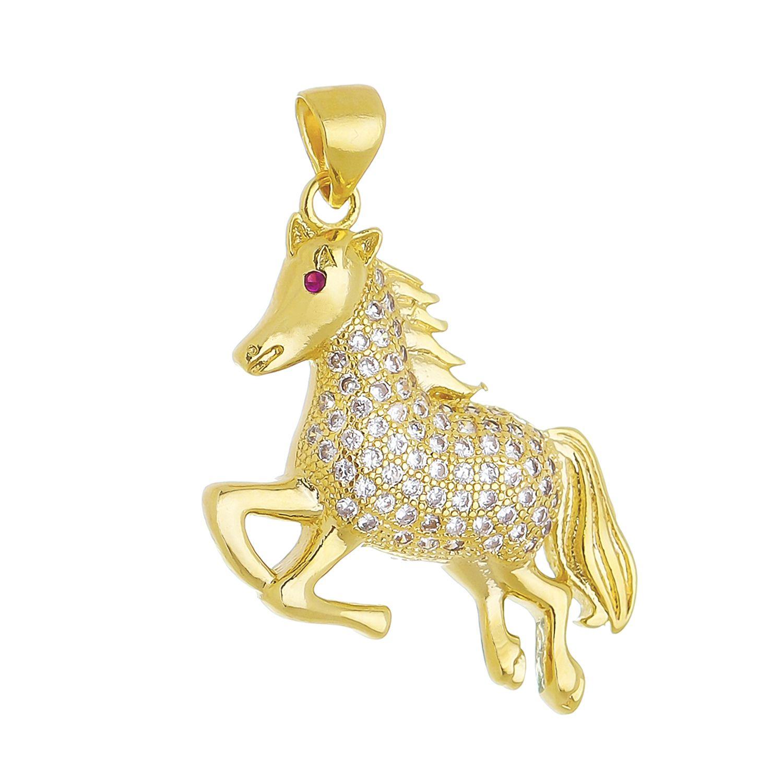 Pingente de Cavalo Cravejado em Zircônias Folheado em Ouro 18k
