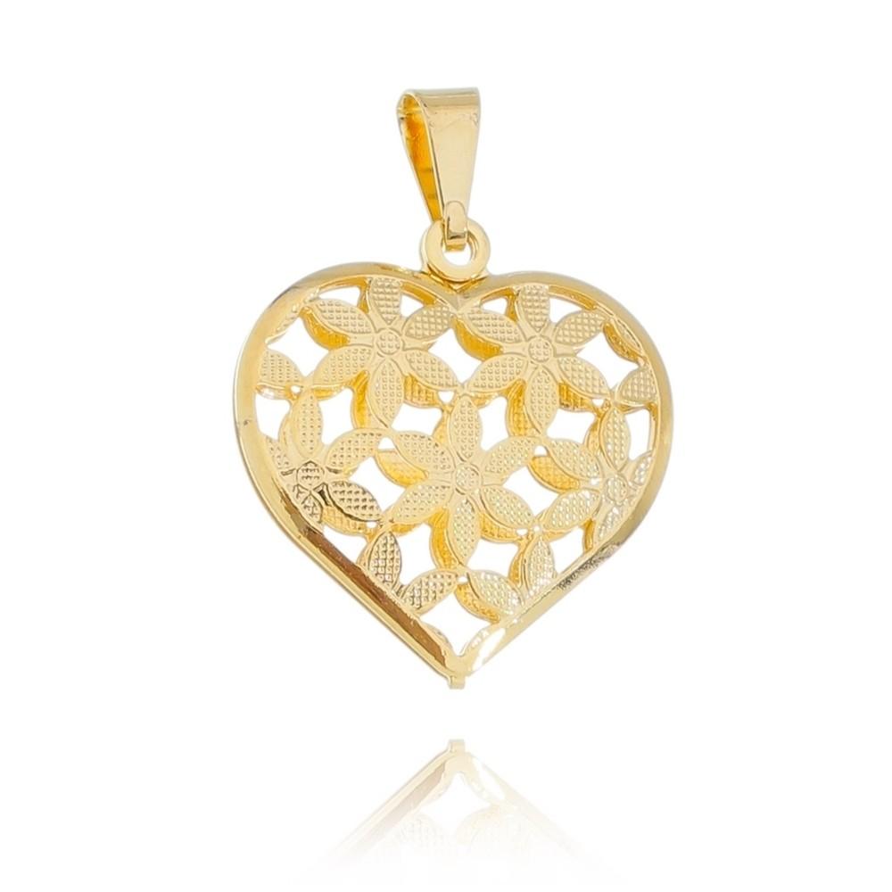Pingente de Coração com Flor Folheado em Ouro 18k - Giro Semijoias