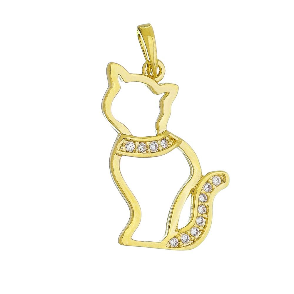 Pingente de Gato Cravejado em Zircônias Folheado em Ouro 18k - Giro Semijoias