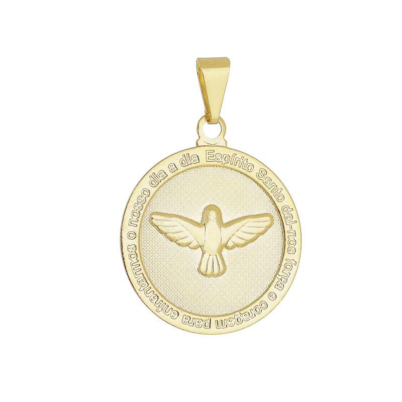 Pingente Medalha Espirito Santo Folheado em Ouro 18k