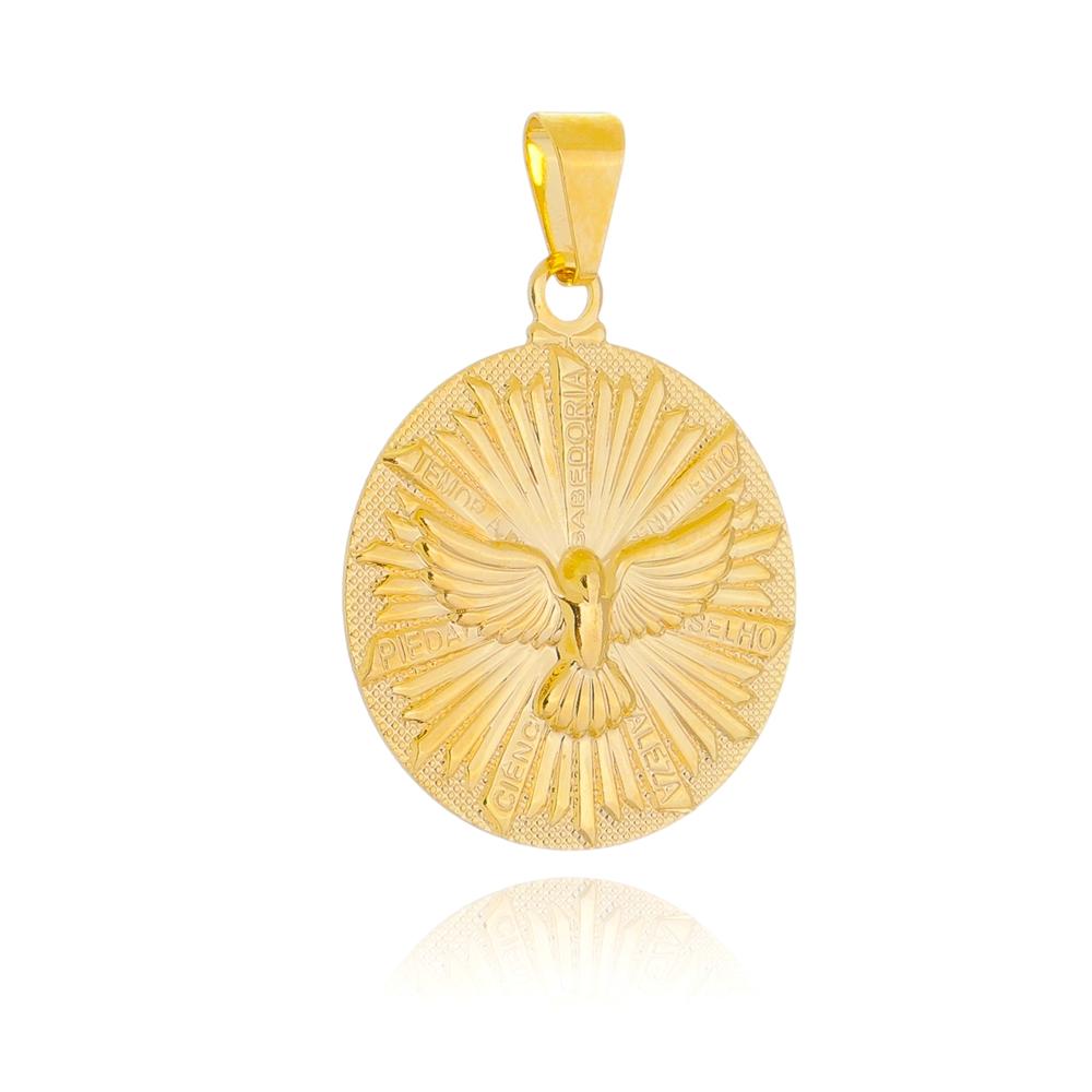 Pingente Medalha Espírito Santo Folheado em Ouro 18k