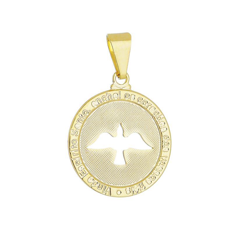 Pingente Medalha Espirito Santo Folheado em Ouro 18k - Giro Semijoias