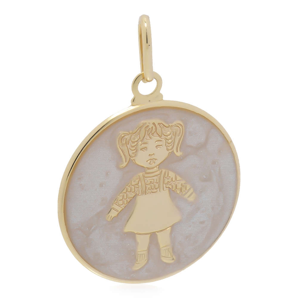 Pingente Medalha Menina com Madrepérola Folheado em Ouro 18k