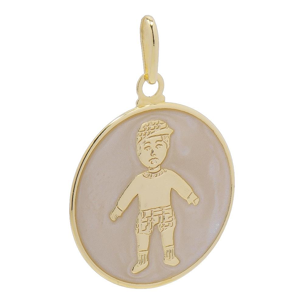 Pingente Medalha Menino com Madrepérola Folheado em Ouro 18k - Giro Semijoias