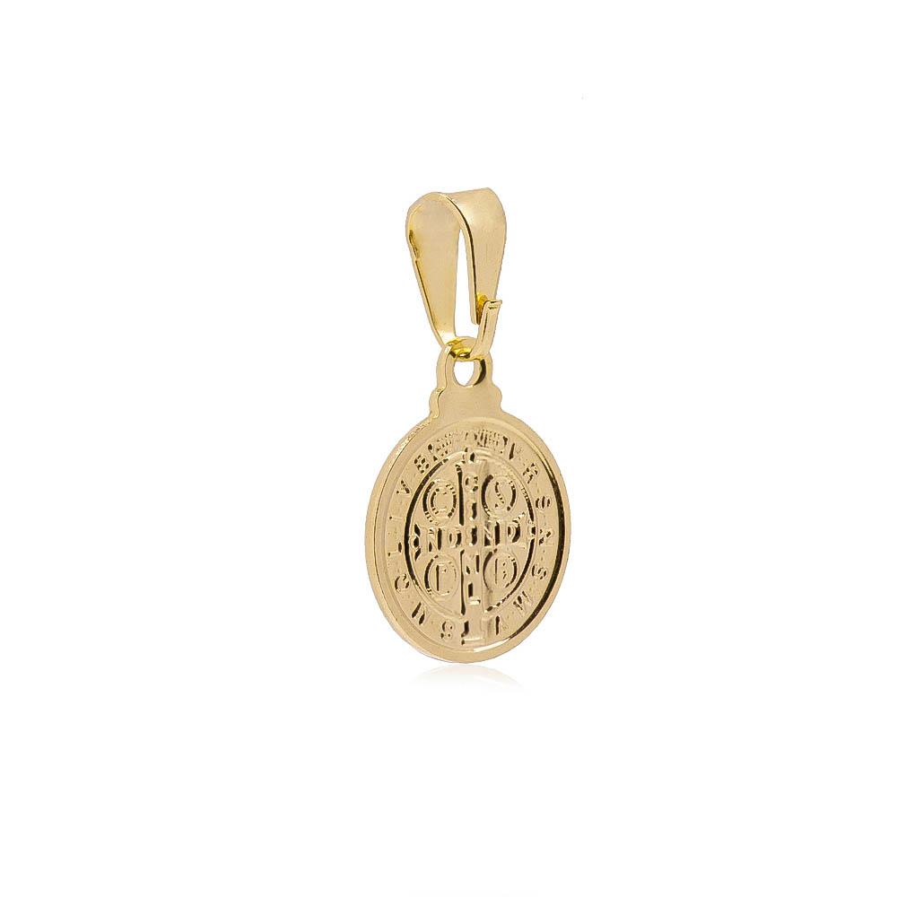 Pingente Medalha São Bento Folheado em Ouro 18k