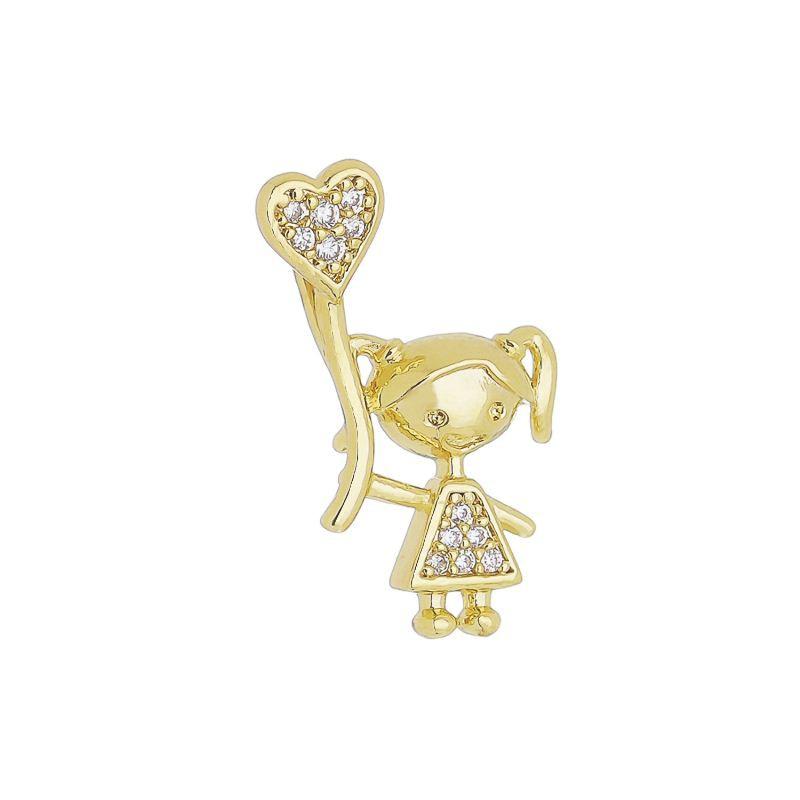Pingente Menina C/ Balão de Coração de Zircônia Folheado com Ouro 18k Giro Semijoias