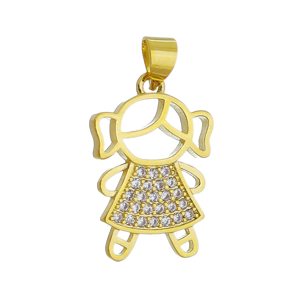 Pingente Menina Cravejado em Zircônias Folheado em Ouro 18k