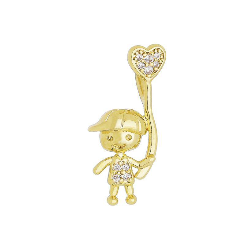 Pingente Menino C/ Balão de Coração de Zircônia Folheado com Ouro 18k-Giro Semijoias