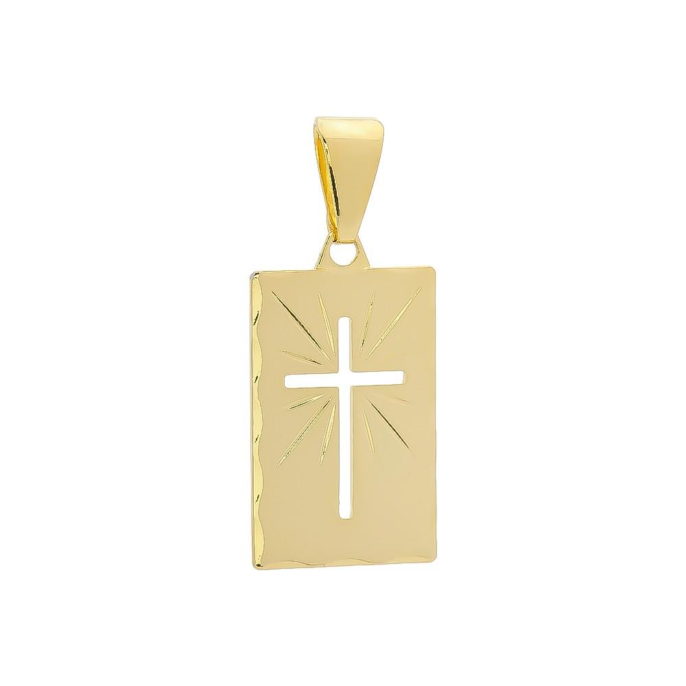 Pingente Placa Cruz Folheado em Ouro 18k - Giro Semijoias