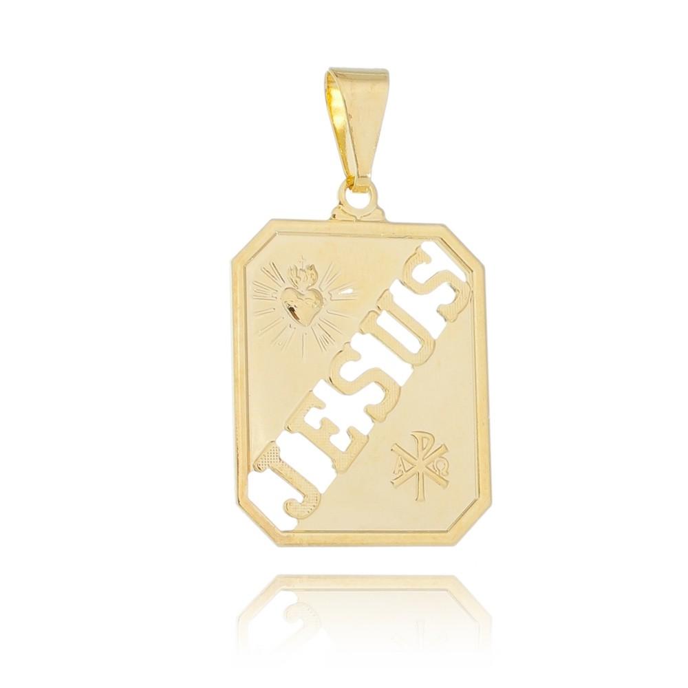 Pingente Placa Jesus Folheado com Ouro 18k Giro Semijoias