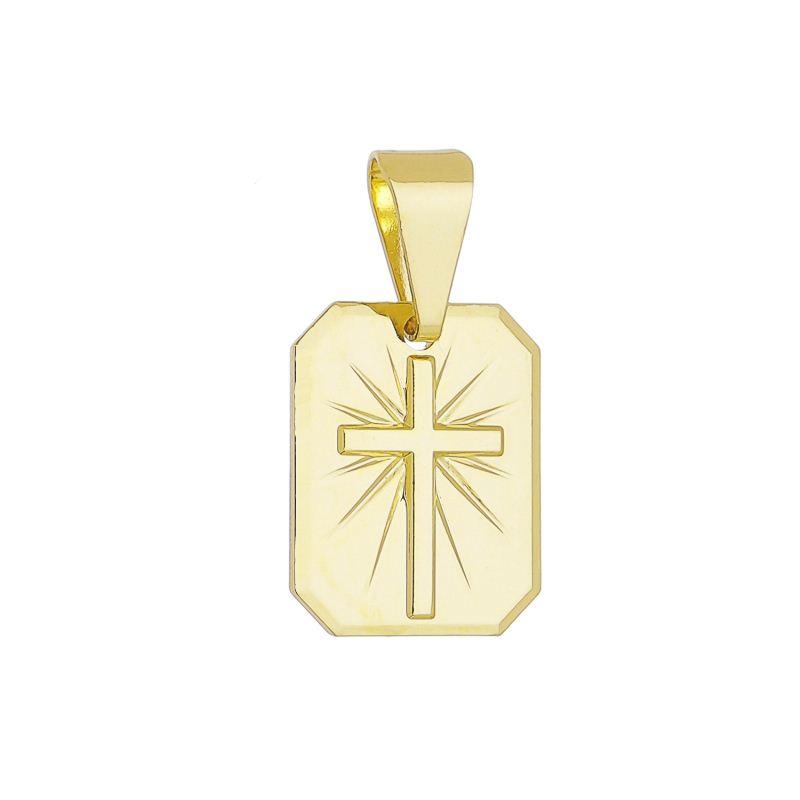 Pingente Quadrado Cruz Folheado em Ouro 18k