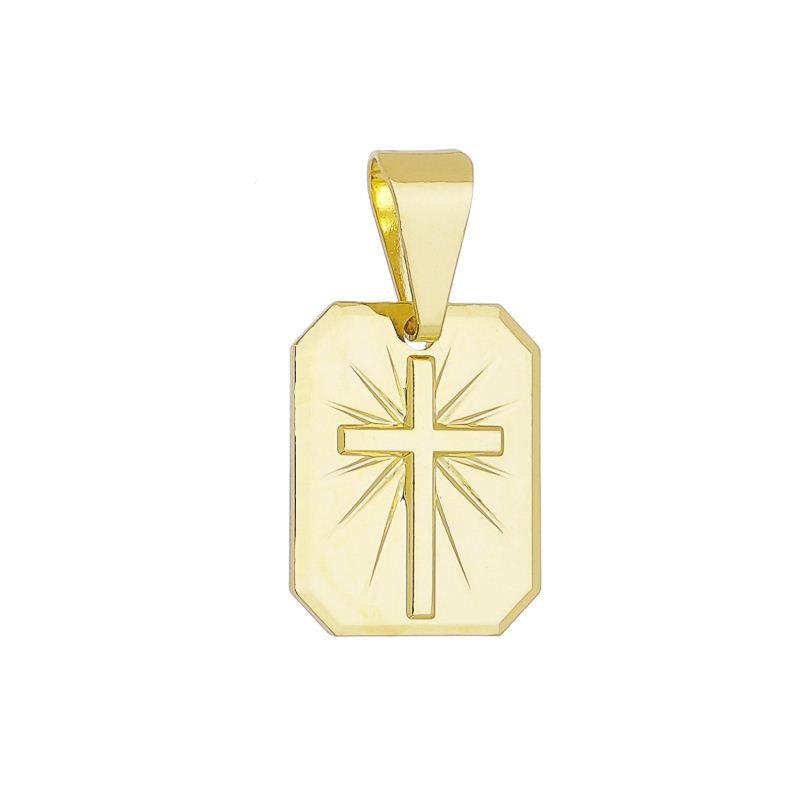 Pingente Quadrado Cruz Ouro 18K-Giro Semijoias