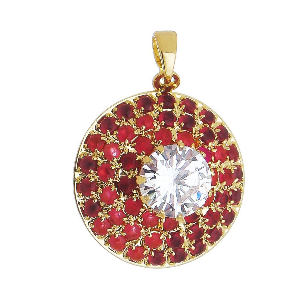 Pingente Redondo C/ Zircônia Rosa Folheado com Ouro 18k