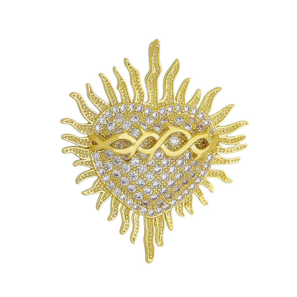 Pingente Sagrado Coração de Jesus Cravejado em Zircônias Folheado em Ouro 18k - Giro Semijoias