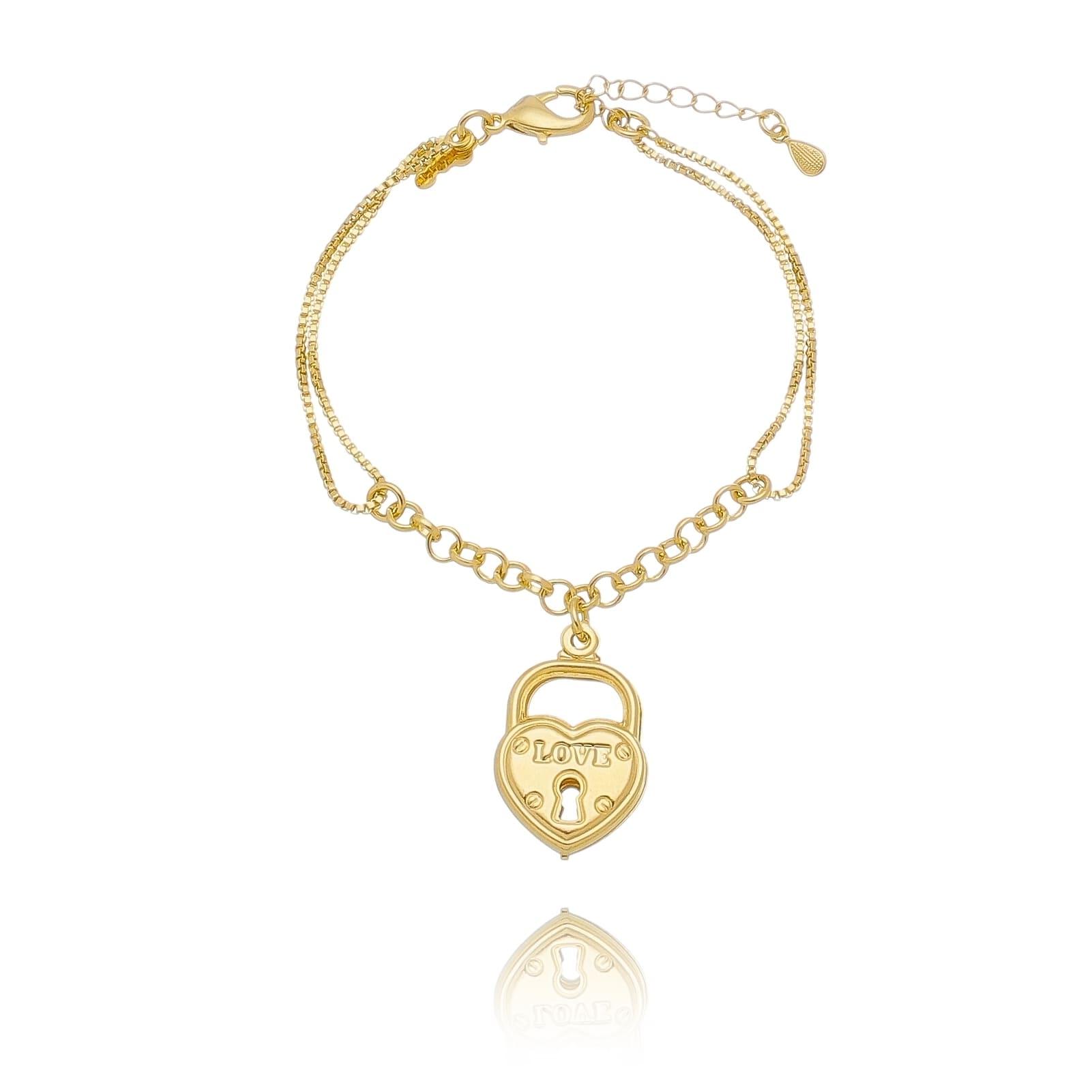 Pulseira 2 Elos com Pingente de Cadeado de Coração Folheado em Ouro 18k - Giro Semijoias