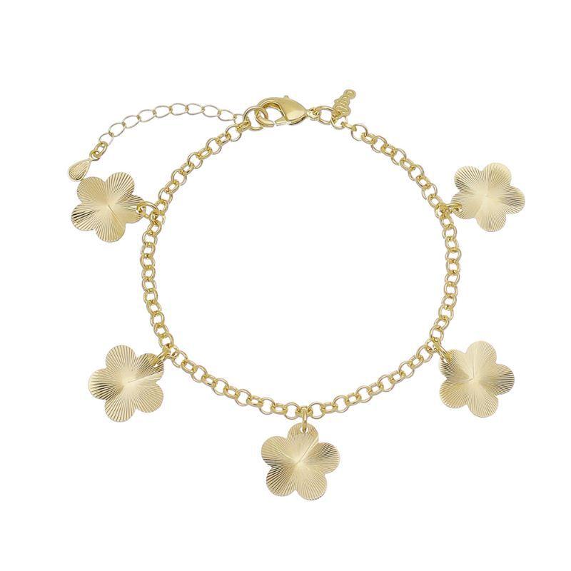 Pulseira 5 Flores C/ Riscos Ouro 18k-Giro Semijoias