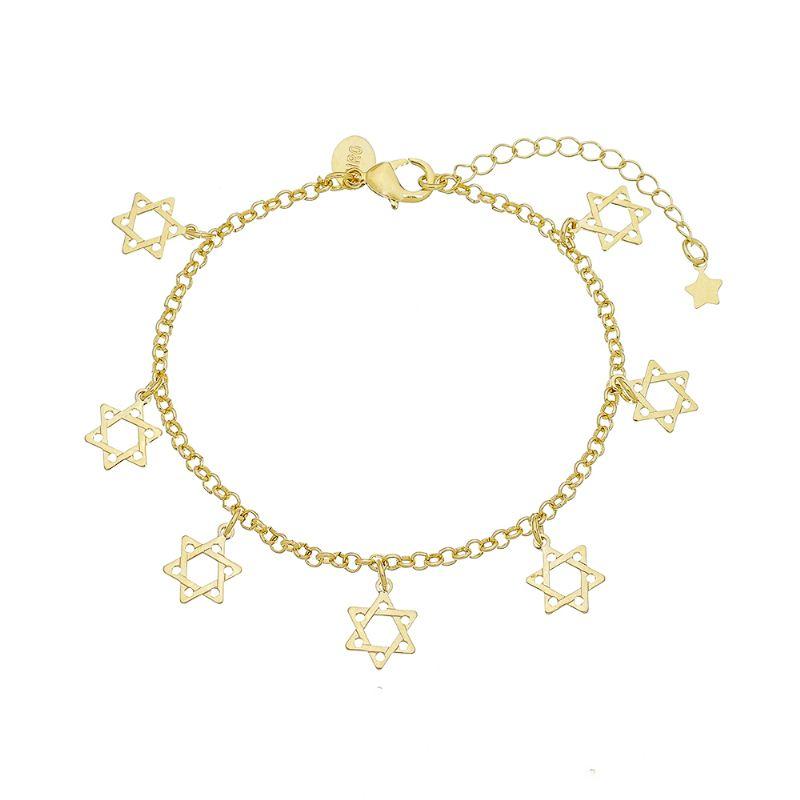 Pulseira 7 Estrelas de Davi Folheado em Ouro 18k Giro Semijoias