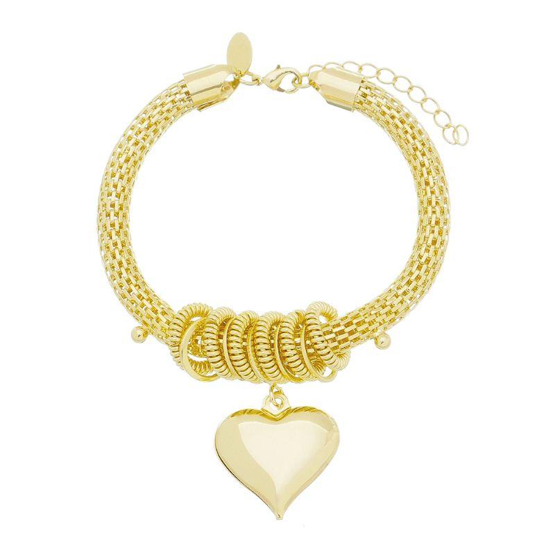 Pulseira Berloque de Coração Liso C/ Argolas Laterais Folheado com Ouro 18k Giro Semijoias