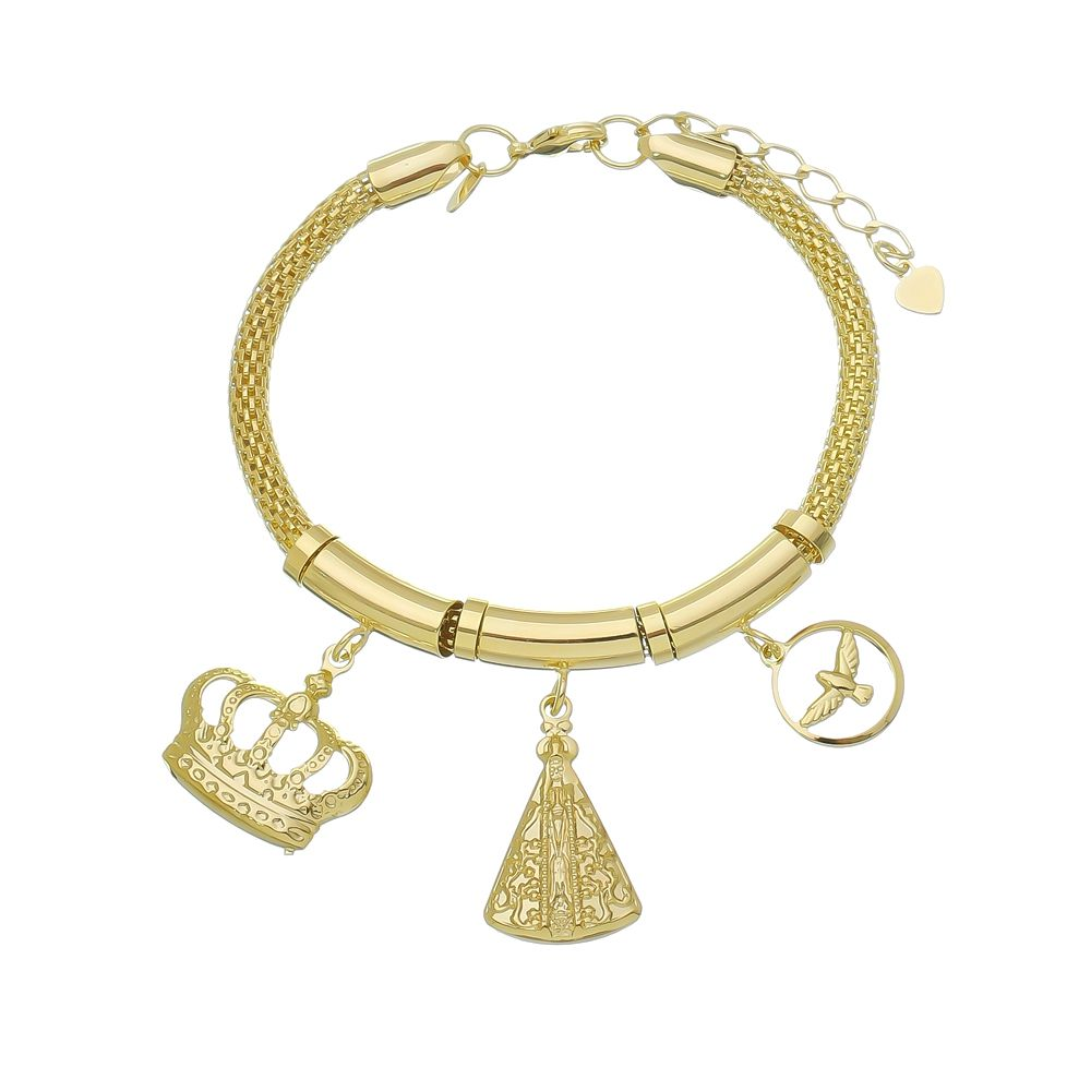 Pulseira Berloque Nossa Senhora Aparecida, Espirito Santo e Coroa Ouro 18k-Giro Semijoias