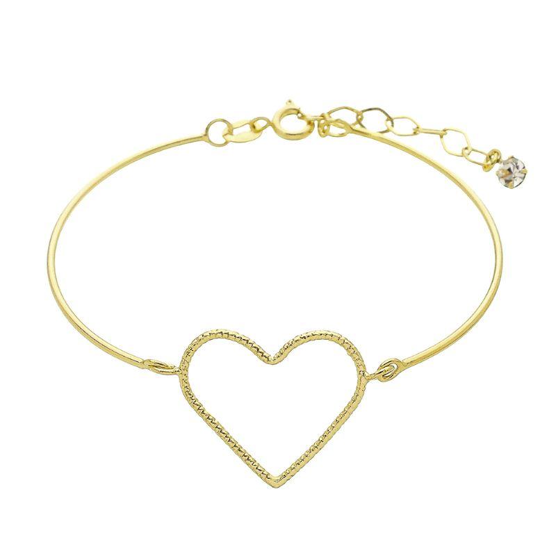 Pulseira Bracelete com Coração Vazado com Riscos Ouro 18k
