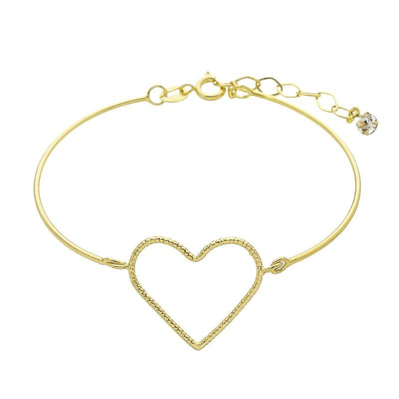 Pulseira Bracelete com Coração Vazado com Riscos Ouro 18k - Giro Semijoias
