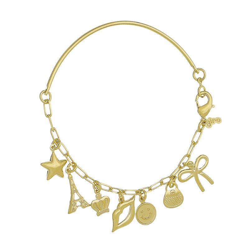 Pulseira Bracelete com Pingentes de Estrela, Torre Eiffel, Coroa, Boca e Bolsa Folheado em Ouro 18K