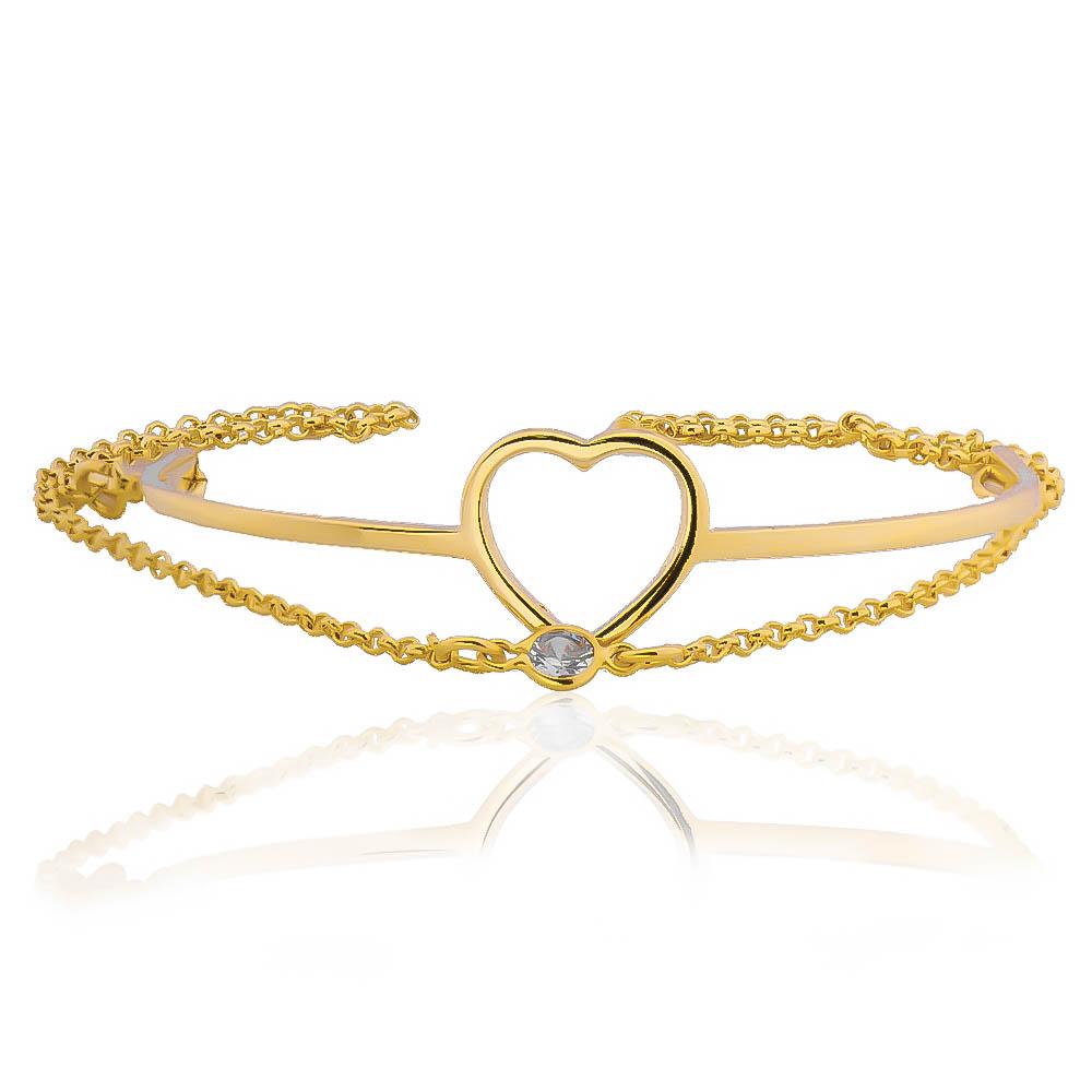 Pulseira Bracelete com Ponto de Luz em Zircônia e Coração Folheada em Ouro 18k