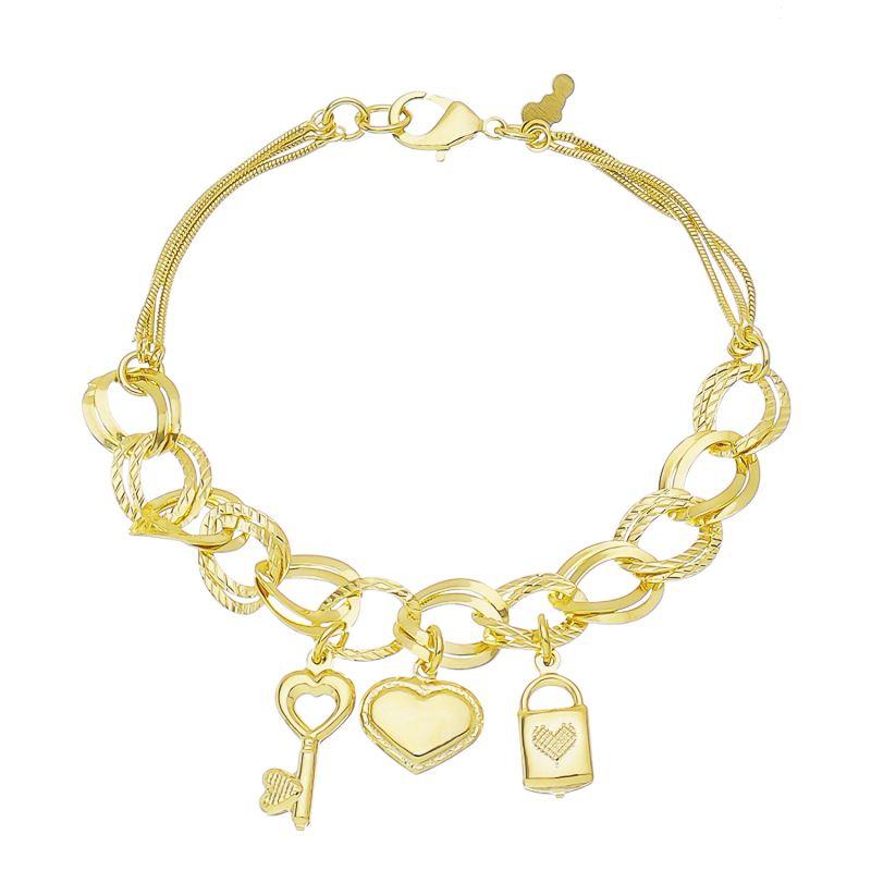 Pulseira Cadeado, Coração e Chave Folheado em Ouro 18k Giro Semijoias