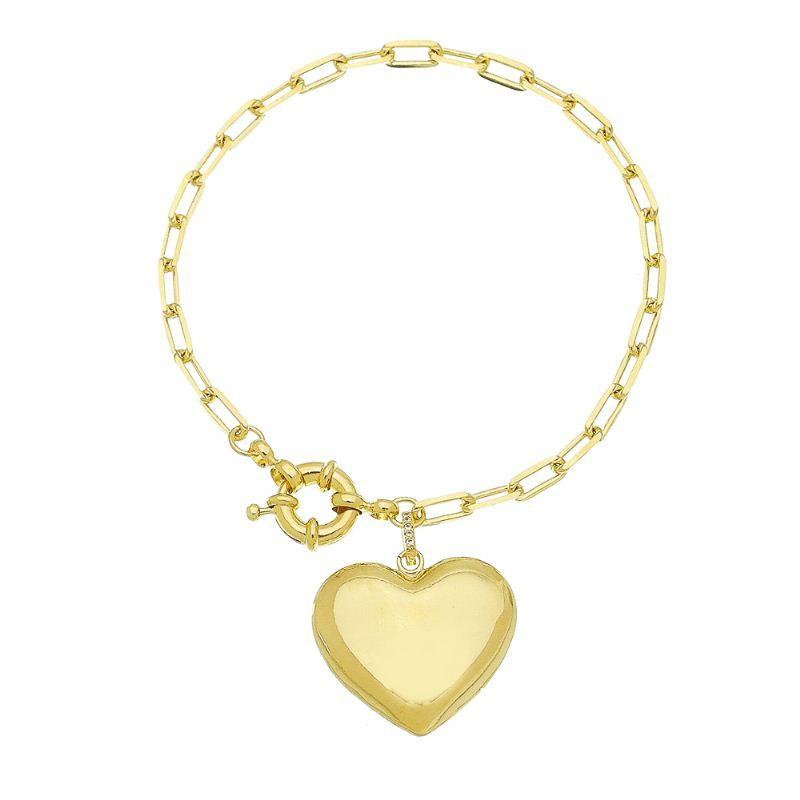 Pulseira Cartier Coração Com Zir  Folheado com Ouro 18k Giro Semijoias