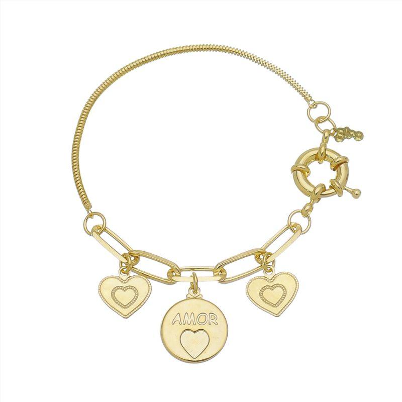 Pulseira com Medalha Amor e Pingentes de Coração Folheado em Ouro 18k