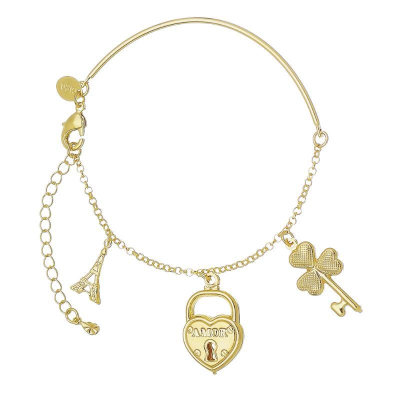 Pulseira com Pingentes de Chave, Coração, Torre Eiffel  Folheada em Ouro 18k - Giro Semijoias