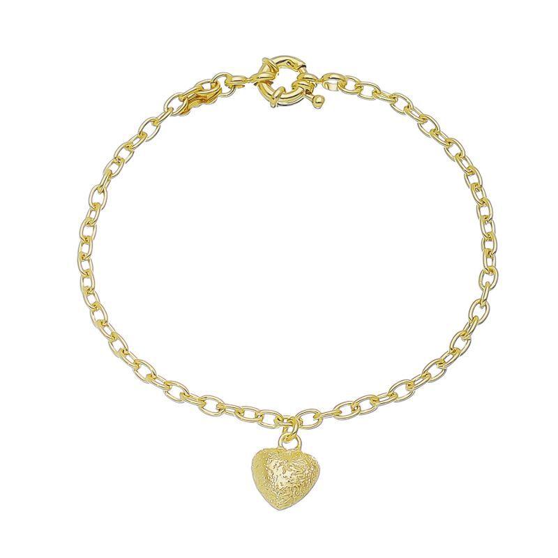 Pulseira Coração C/ Textura Ouro 18k-Giro Semijoias