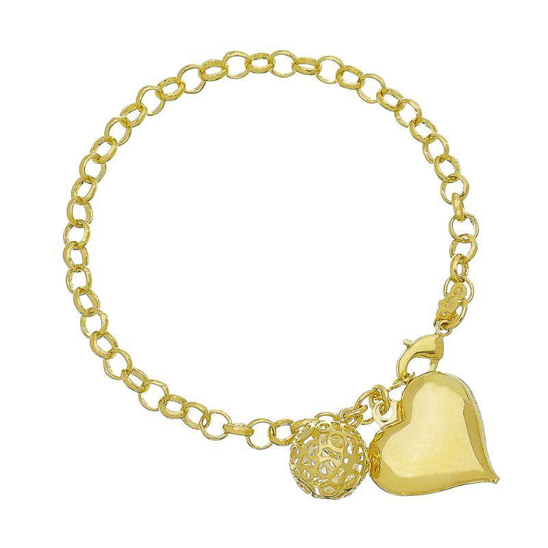 Pulseira Coração Liso e Bola Vazada Ouro 18k-Giro Semijoias