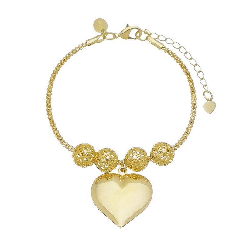 Pulseira Coração Liso e Bolas Vazadas Ouro 18k-Giro Semijoias