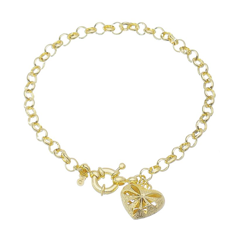 Pulseira Coração Vazado Ouro 18k-Giro Semijoias