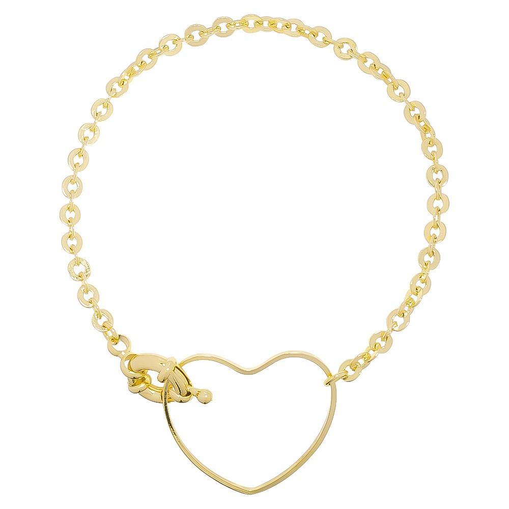 Pulseira de Coração Vazado Folheada em Ouro 18k - Giro Semijoias