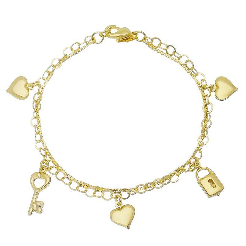Pulseira Dupla C/ Pingente Chave, Cadeado e Coração Ouro 18k-Giro Semijoias