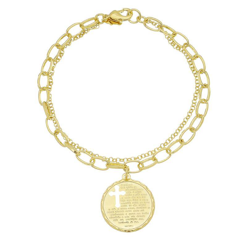 Pulseira Dupla com Medalha do Pai Nosso Vazada Folheada em Ouro 18k